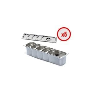 Pack X5 Bac Gastro GN 1/4 + Couvercle (prof. 150mm)