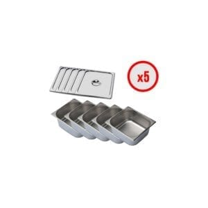 Pack X5 Bac Gastro GN 2/3 + Couvercle (prof. 150mm)